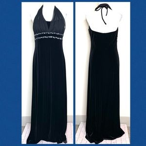 Jump Apparel Halter Velvet Chiffon Lng Dress 11/12